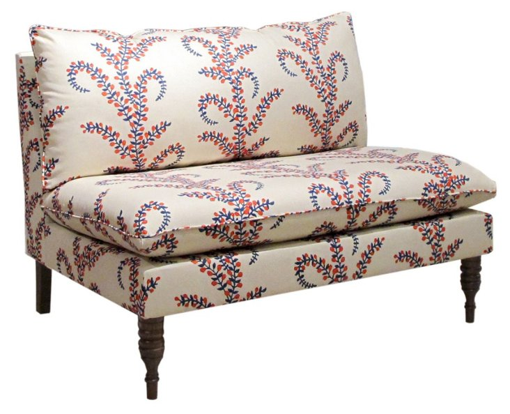 "Georgia 49"" Armless Settee, Red/Blue"