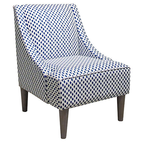 Quinn Swoop-Arm Accent Chair, Navy Dots