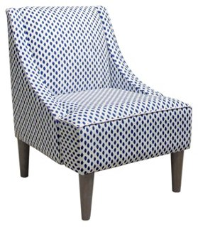 Captivating Quinn Swoop Arm Chair, Navy Dots   Accent Chairs   Chairs   Living Room    Furniture | One Kings Lane