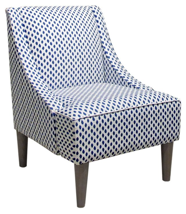 Quinn Swoop-Arm Chair, Navy Dots