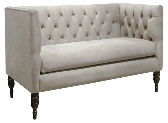 "Liz 52"" Settee, Light Gray Velvet"