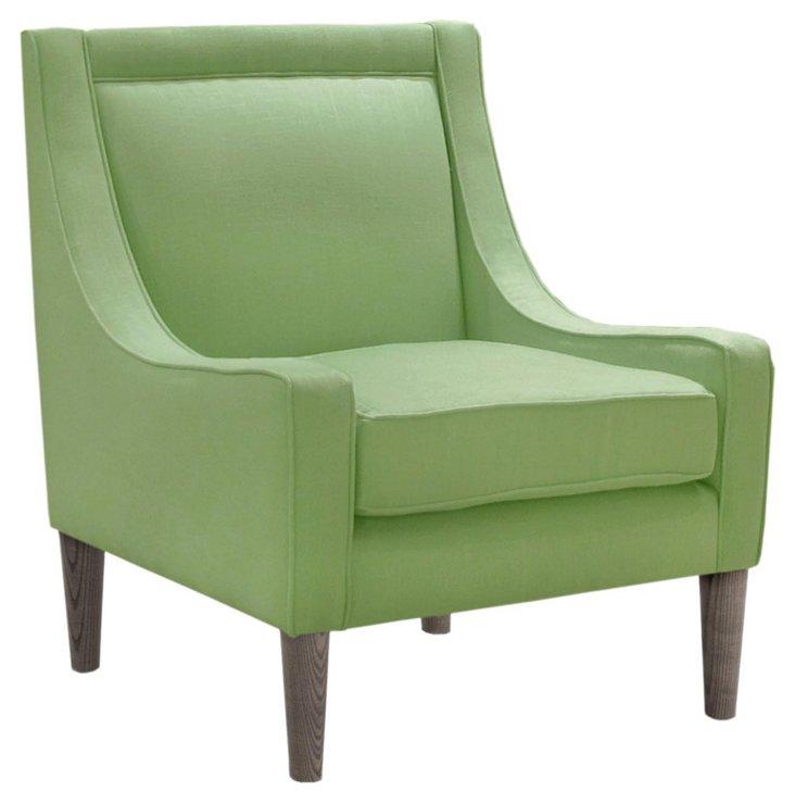 Scarlett Swoop-Arm Chair, Mint