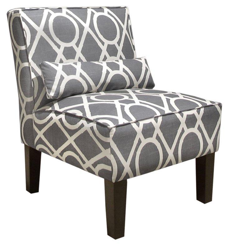 Bergman Armless Chair, Gray/White