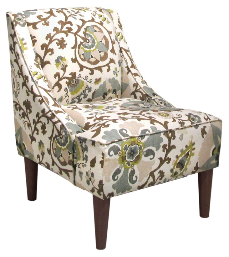 Quinn Swoop-Arm Chair, Ivory/Espresso