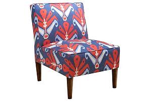 Finnegan Armless Chair, Blue/Red