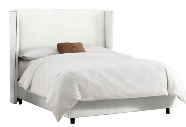 Darcy Velvet Wingback Bed, White