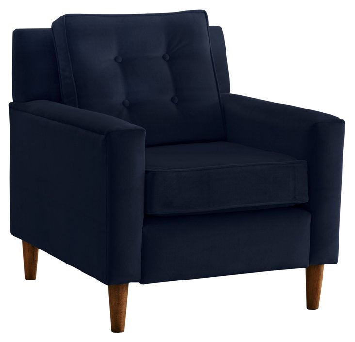 Winston Chair, Navy Velvet