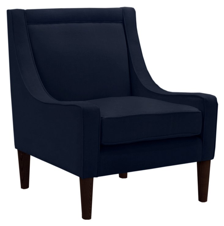 Scarlett Swoop-Arm Chair, Navy