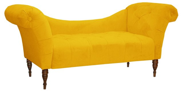 Cameron Tufted Chaise, Canary Velvet