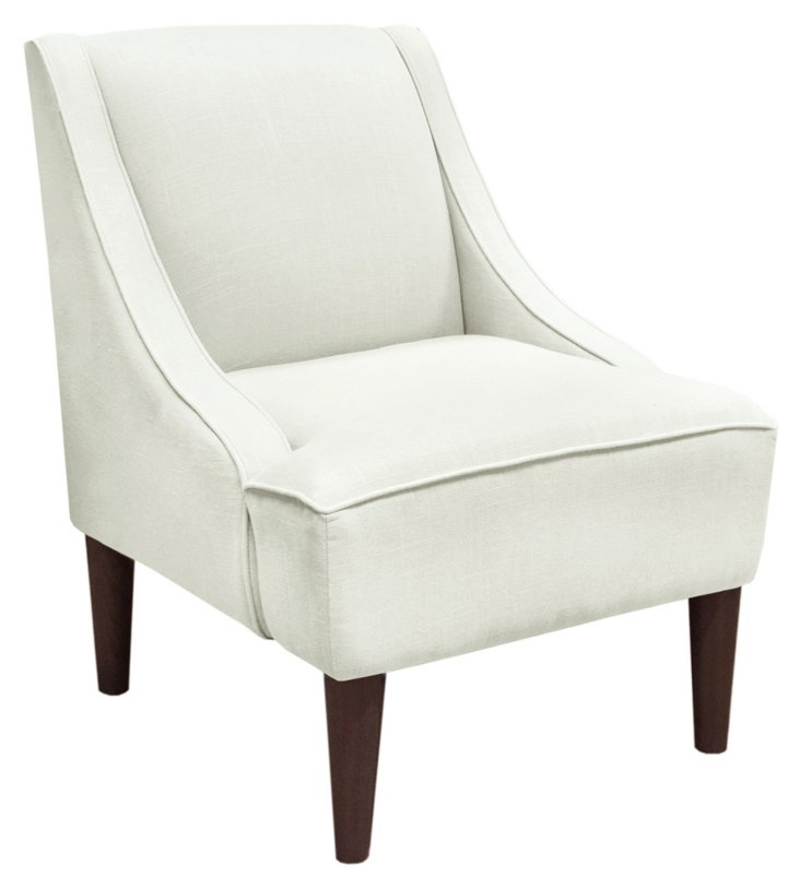 Quinn Swoop-Arm Chair, Talc