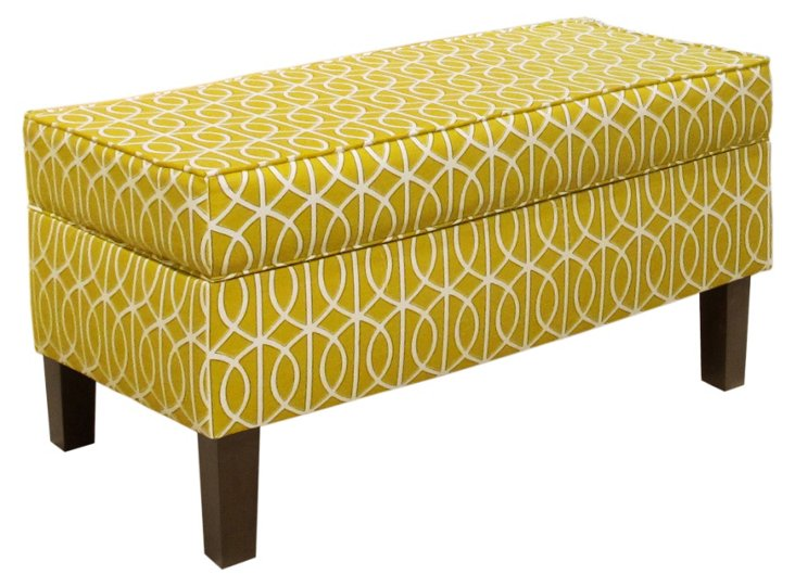 Breene Storage Bench, Citrine/White