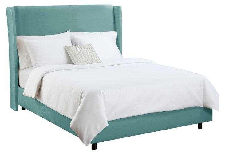Kelly Wingback Bed, Teal