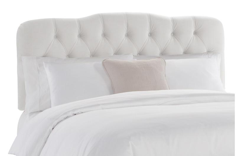 Davidson Tufted Headboard, White Velvet