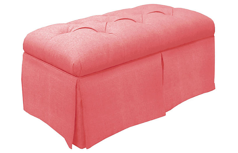 Olivia Skirted Storage Bench, Coral Linen