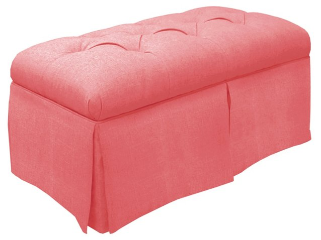 Olivia Tufted Storage Bench, Coral - Benches - Living Room ...