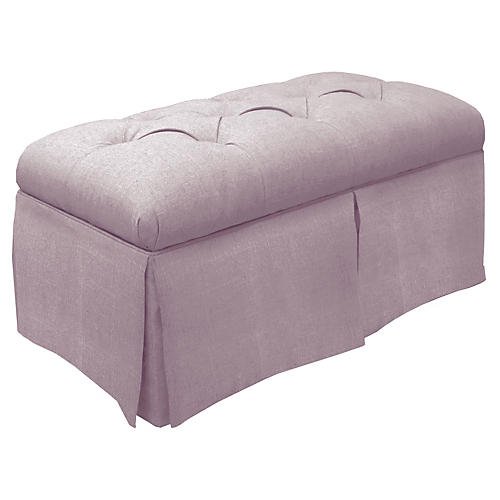 Olivia Skirted Storage Bench, Quartz Linen