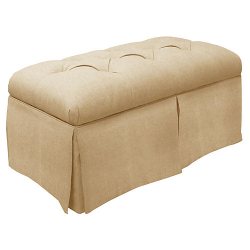 Olivia Skirted Storage Bench, Sandstone Linen