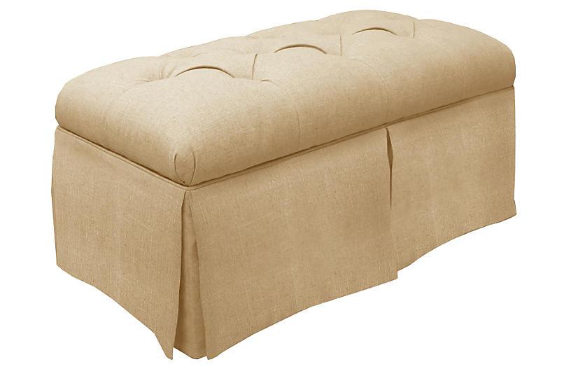 Olivia Skirted Storage Bench, Sandstone Linen