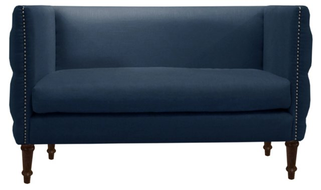"Gillian 52"" Tufted Settee, Navy"