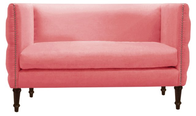 "Gillian 52"" Tufted Settee, Coral"