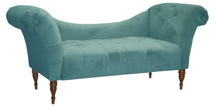 Cameron Tufted Chaise, Teal/Espresso
