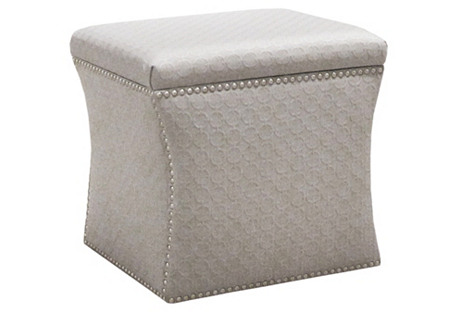 Hepburn Storage Ottoman, Light Gray