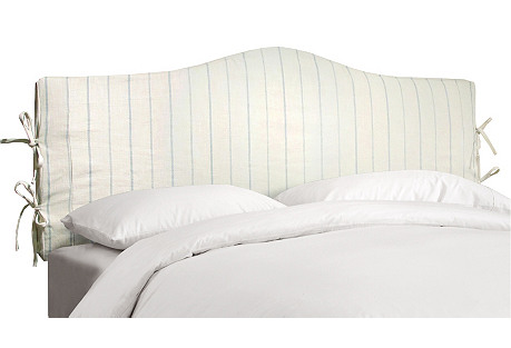 Eloise Slipcover Headboard, Blue/Cream