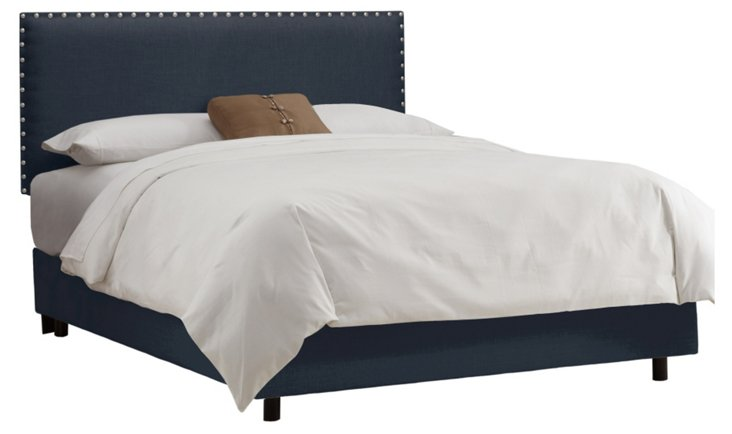 Loren Nail-Button Bed, Navy