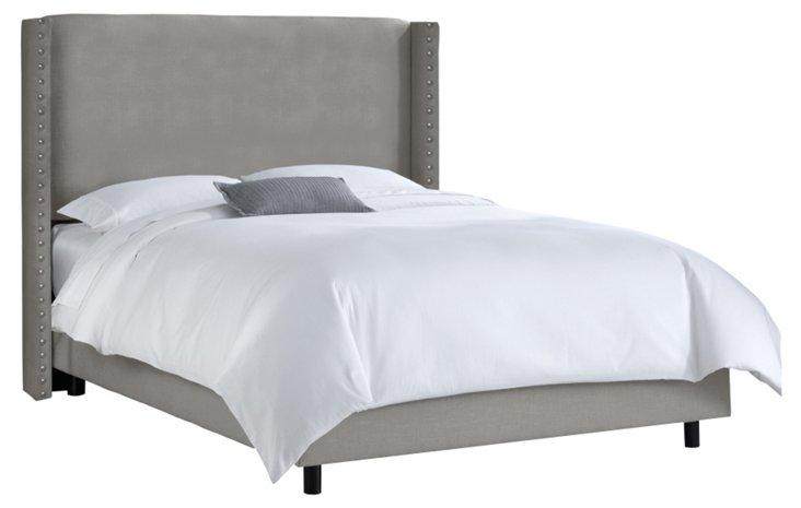 Flynn Nail-Trim Wingback Bed, Gray