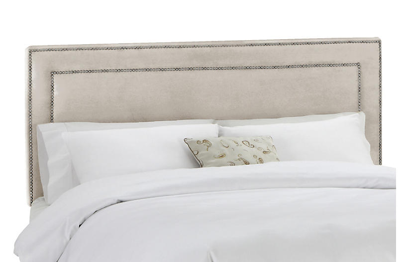 Bardot Headboard, Light Gray Velvet
