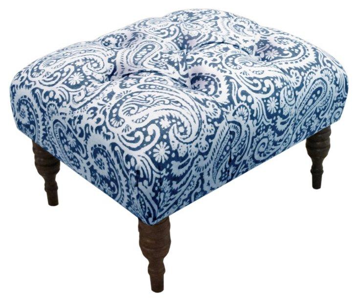 Boyd Tufted Ottoman, Blue/White