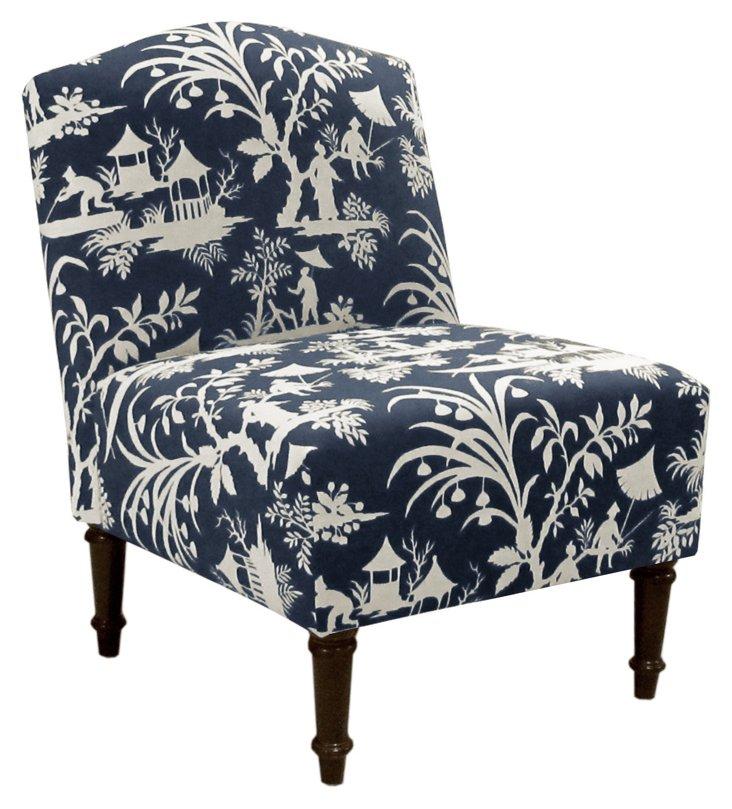 Clark Slipper Chair, Navy