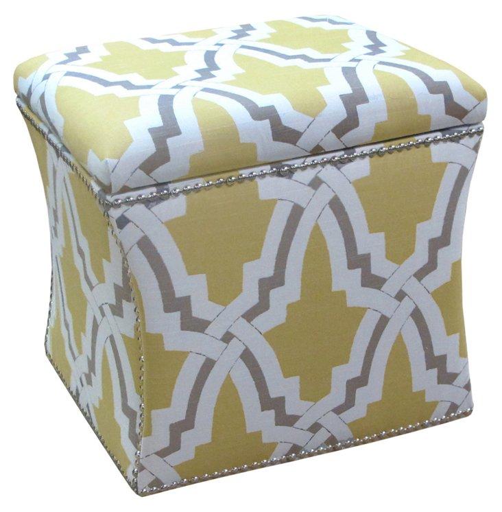 Merritt Storage Ottoman, Yellow/Gray