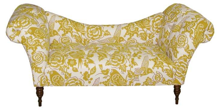 Clara Tufted Settee, Yellow/Cream