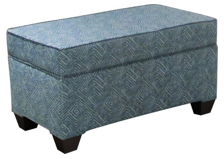 Arthur Storage Bench, Indigo/Light Blue