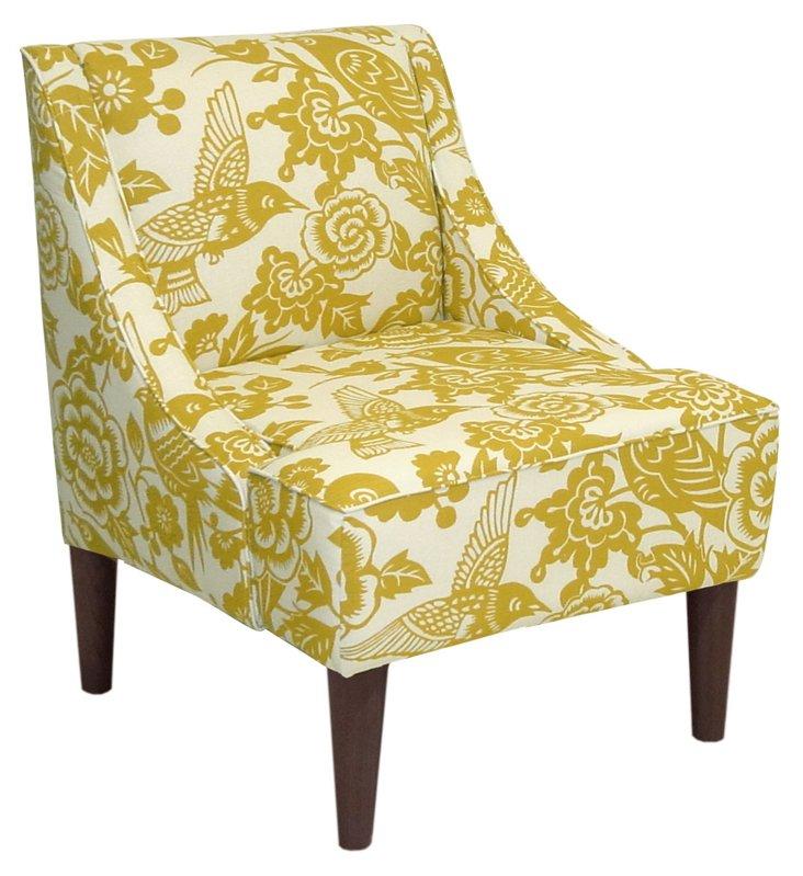 Quinn Swoop-Arm Chair, Yellow/Cream