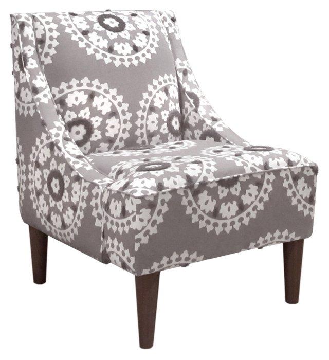 Quinn Swoop-Arm Chair, Gray/White