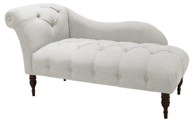 Frances Single-Arm Chaise, White