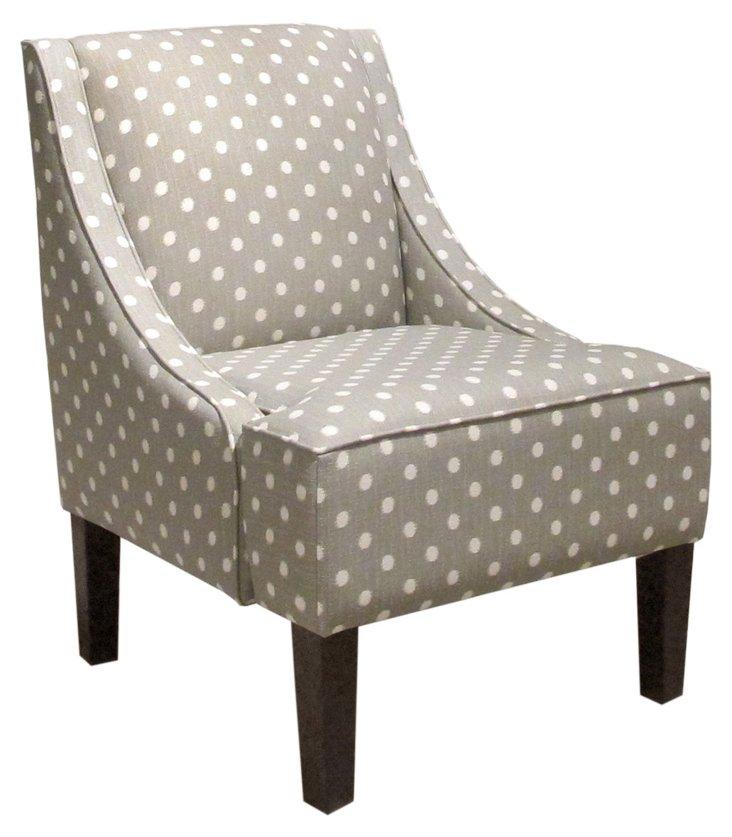 Fletcher Swoop-Arm Chair, Gray Dot