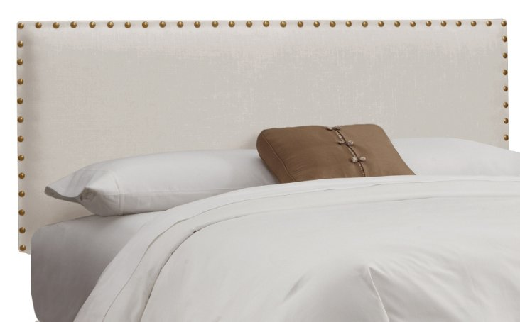 Loren Nail-Button Headboard, Talc