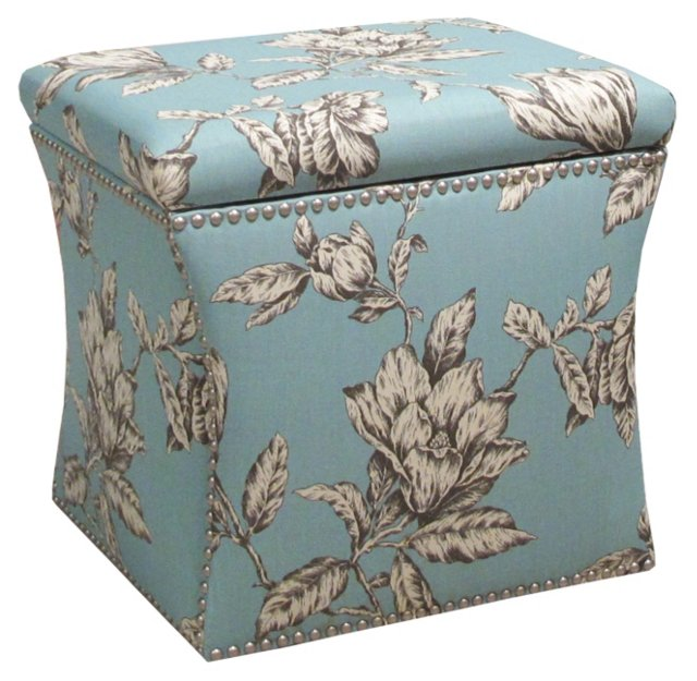 Merritt Storage Ottoman, Teal/Cream