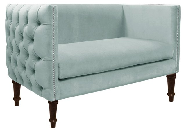 "Gillian 52"" Tufted Settee, Pool Velvet"