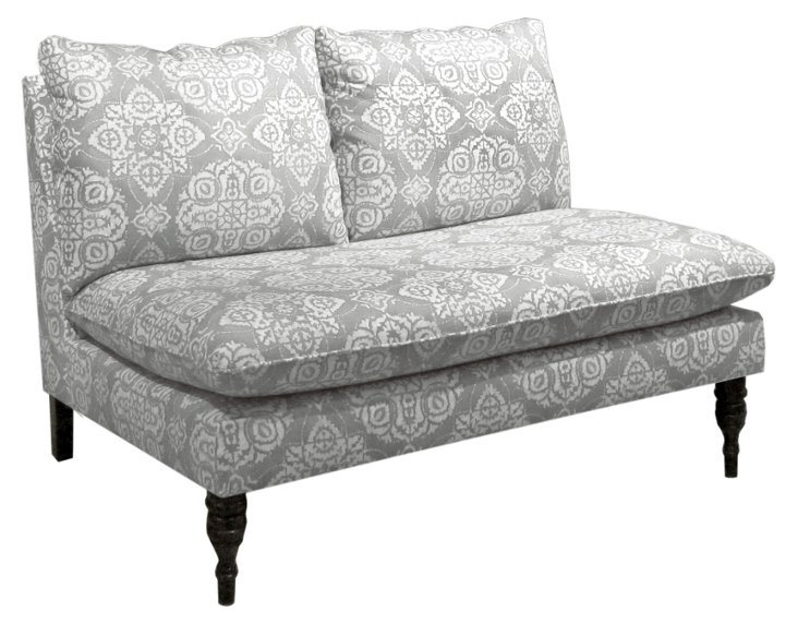 "Bacall 49"" Armless Cotton Settee, Gray"