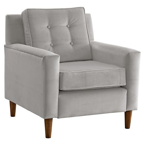 Winston Club Chair, Light Gray Velvet