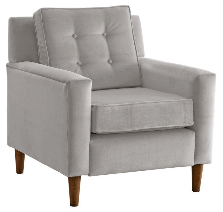 Winston Chair, Light Gray Velvet