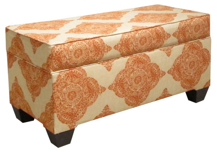 "Arthur 36"" Storage Bench, Orange/Cream"