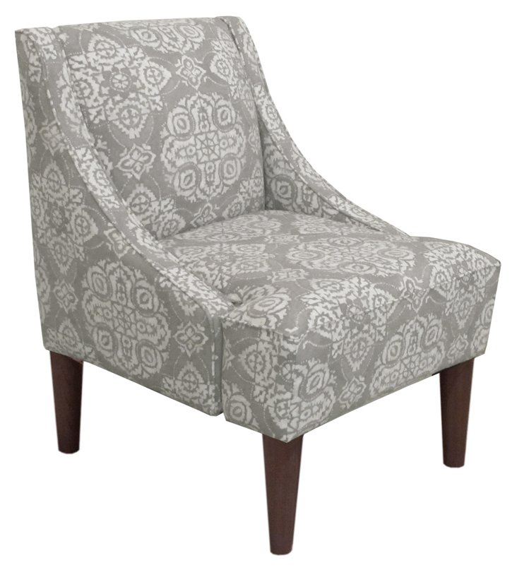 Quinn Swoop-Arm Chair, Cream/Gray
