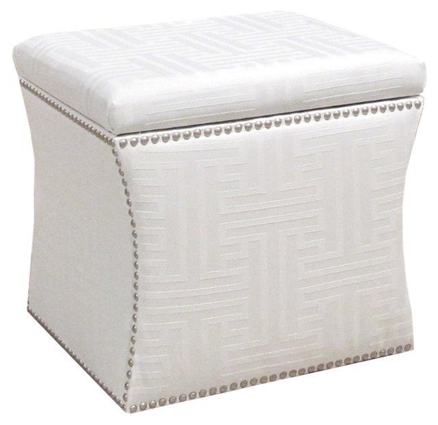 Merritt Storage Ottoman, Damask White