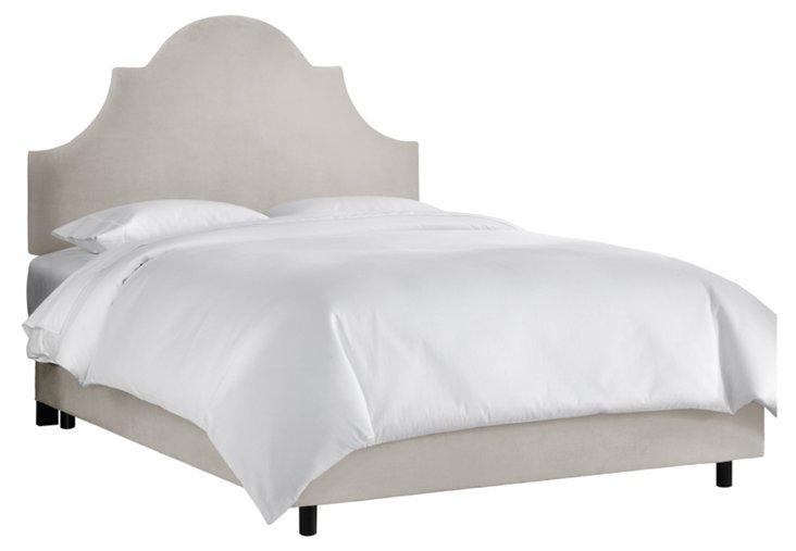 Velvet Light Grey Liv Bed, Cal King