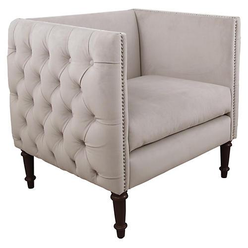Aldridge Tufted Chair, Dove Gray Velvet